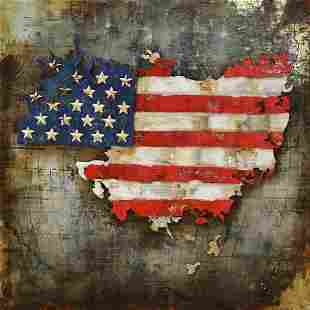 United State Map with American Flag 3-D Wall Mount