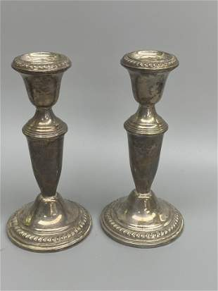 2 Candle Stick Holder Silver Plated
