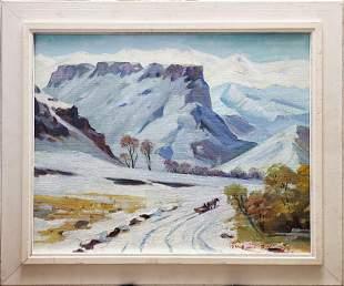 "Winter Scene"" oil on canvas unknown artist"
