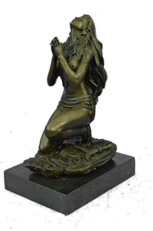 ALDO VITALEH INDIAN GIRL WARRIOR BRONZE SCULTURE