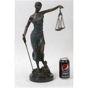 MAYER ART DECO LADY JUSTICE BRONZE SCULPTURE