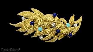 Vintage Hammerman Brothers 18k diamond Brooch