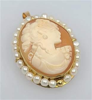 Antique Victorian 14l Cameo Peal Brooch Pendant