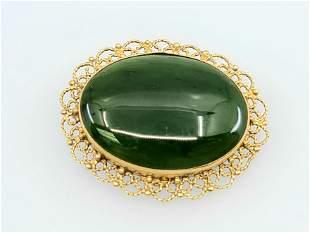 Large 14k Green Jade cinese Brooch Pendant