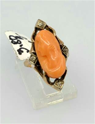 Antique 10k Pink Coral Cameo Ring