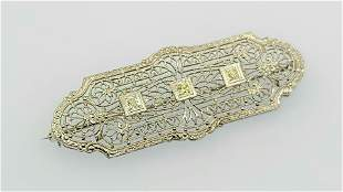 Antique 14k Filigree diamond brooch pin