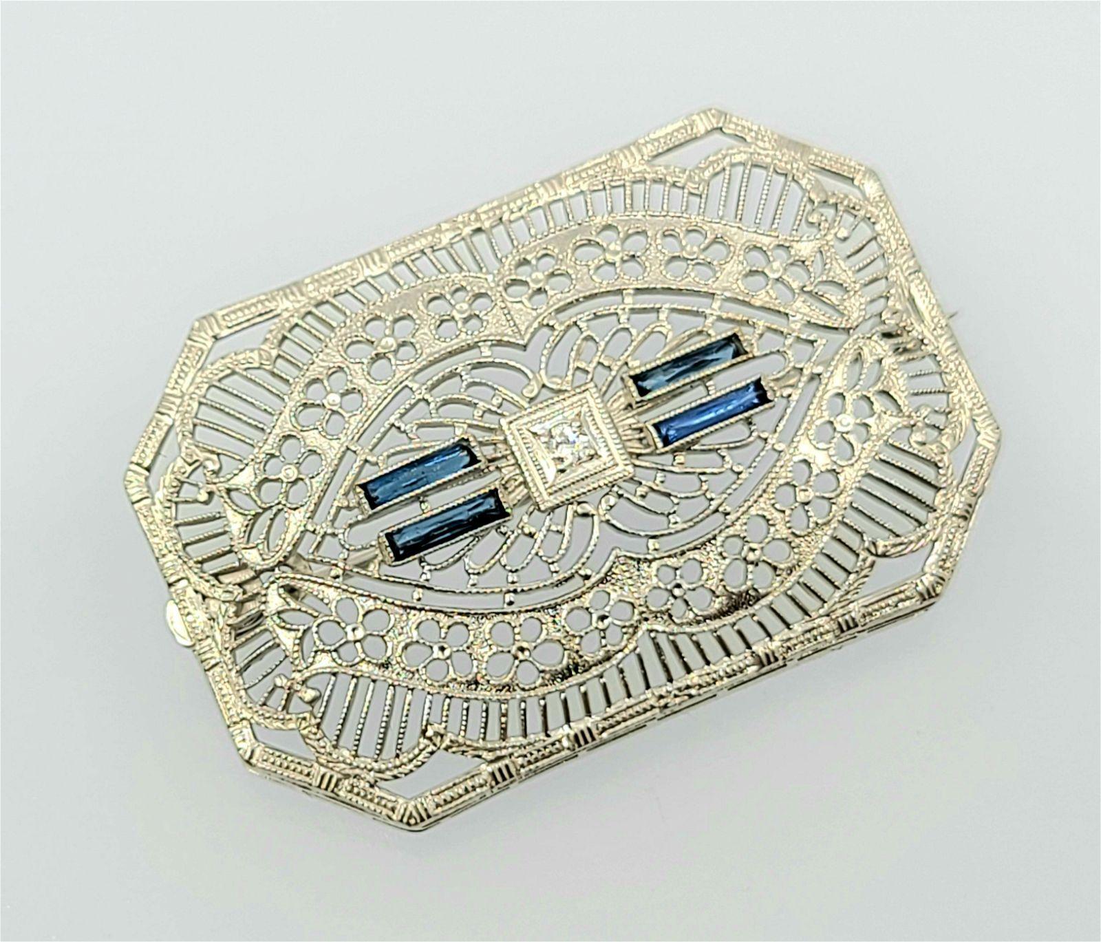 Antique 10k Filigree sapphire brooch pin