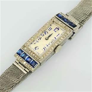 Art Deco Sapphire Diamond Platinum Watch