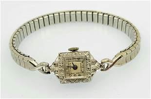 Cypres 14k white gold ladies diamond watch