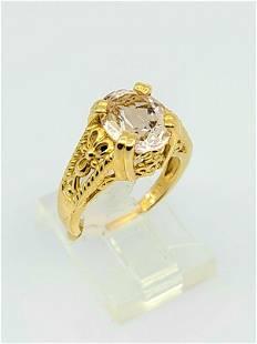 14kt YG Pink Zirconia Ring