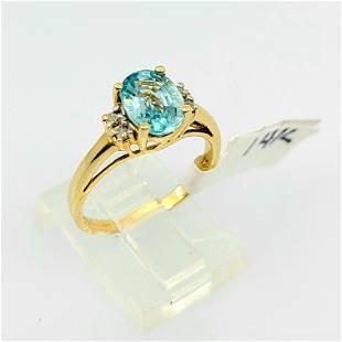 14kt YG Blue Topaz Diamond Ring