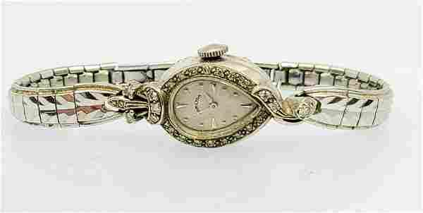 Hamilton 14k white gold pear shape ladies diamond watch
