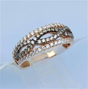 14K ROSE GOLD BROWN DIAMOND RING