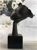 Dali Floating Face on Bronze Sculpture