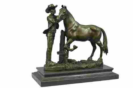 Cowboy Stallion Sculpture Signed Western Art Figurine