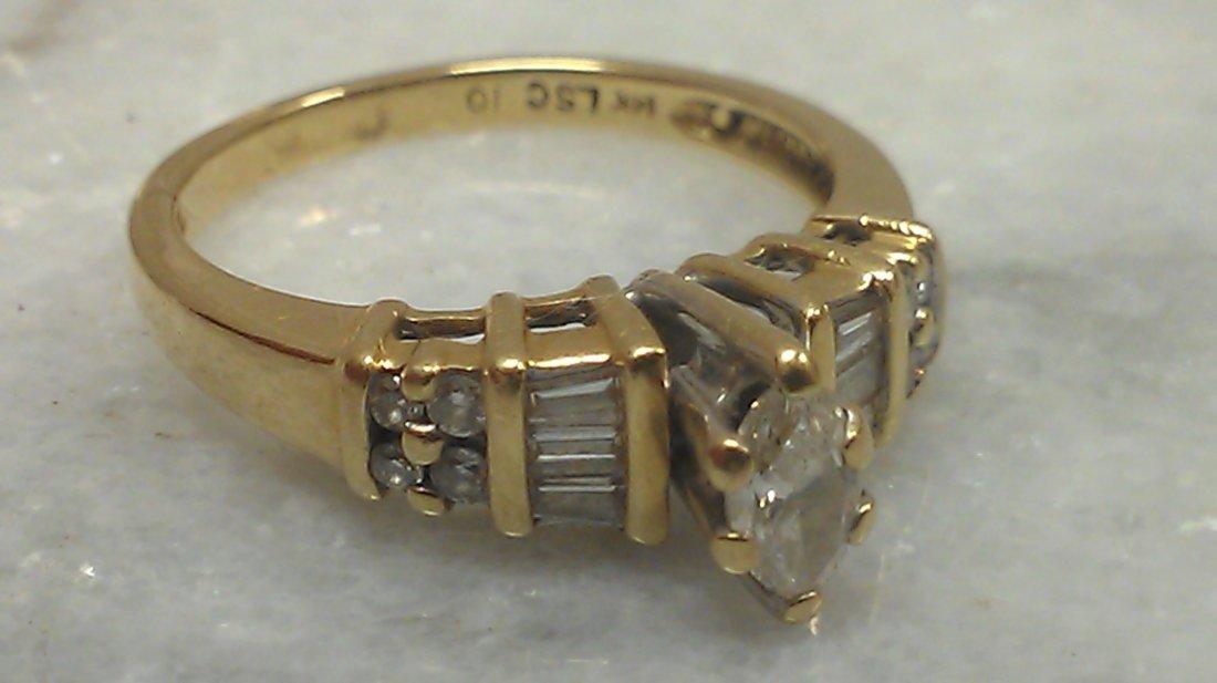 14K YG MARQUIS DIAMOND RING