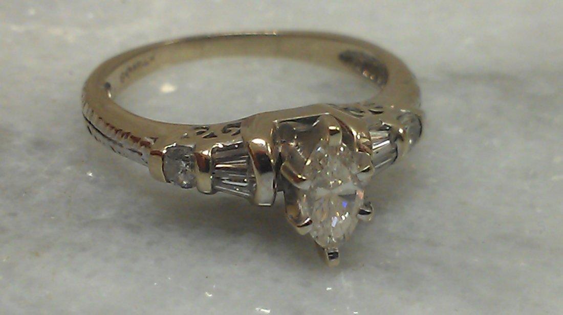 14K WG MARQUIS DIAMOND RING