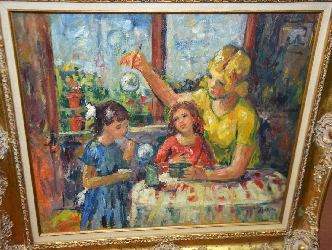 Bertalan oil on panel signed framed painting