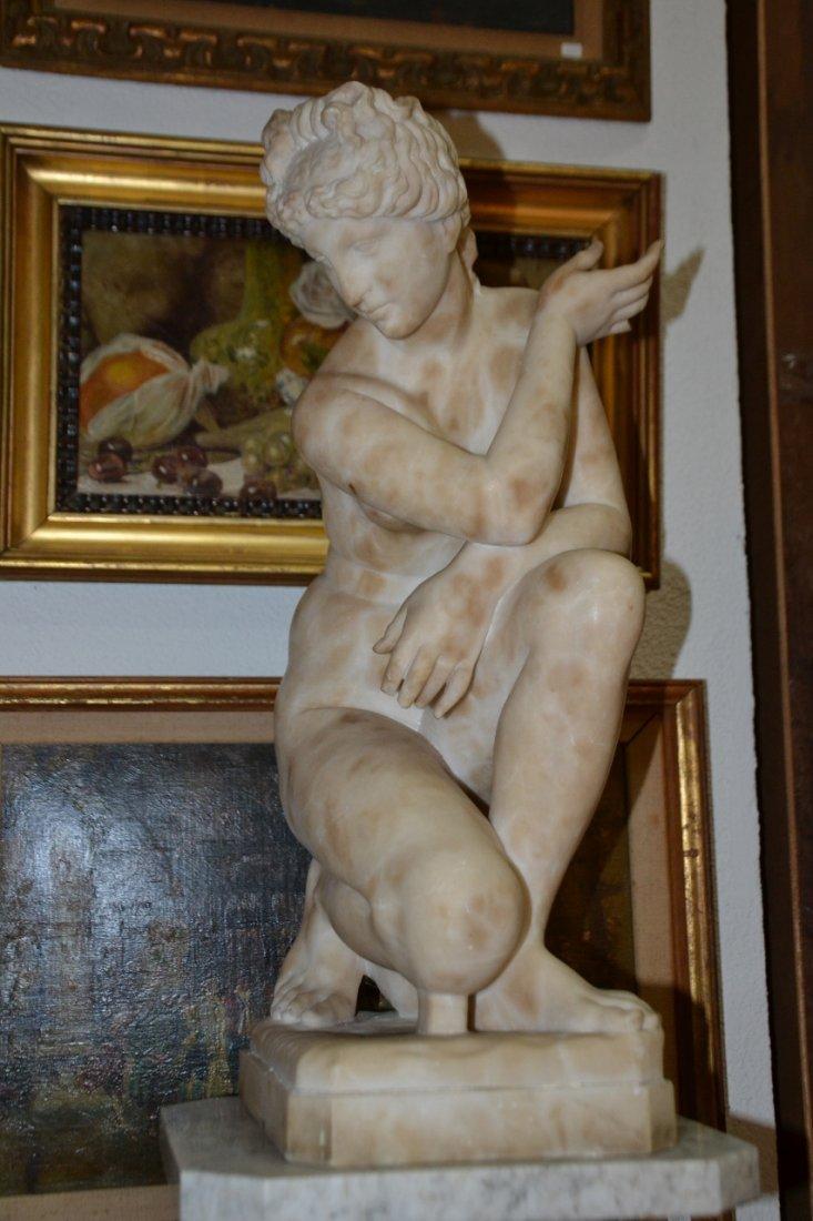 Vintage alabaster large Nude Woman Hand Carved Figure