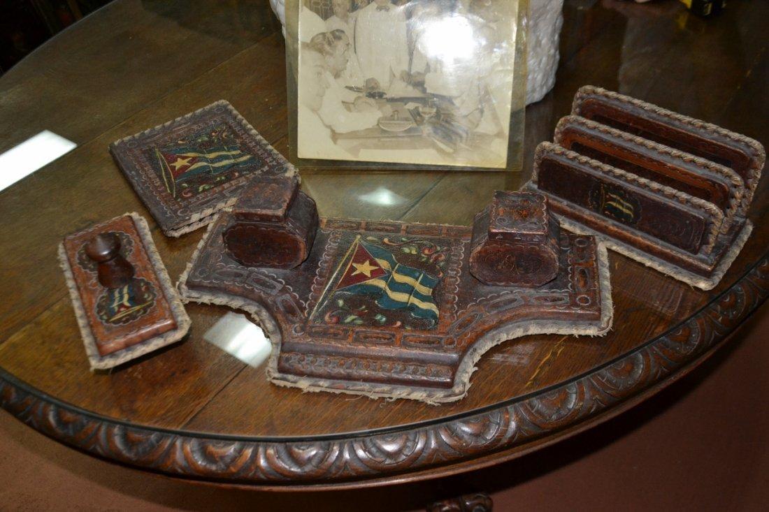 Vintage Carlos Prio Socarras leather desk set