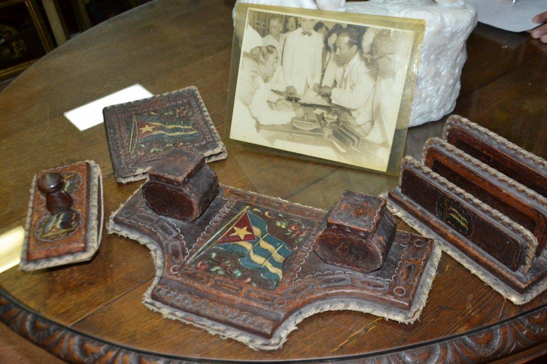 Vintage Carlos Prio Socarras leather desk set - 2