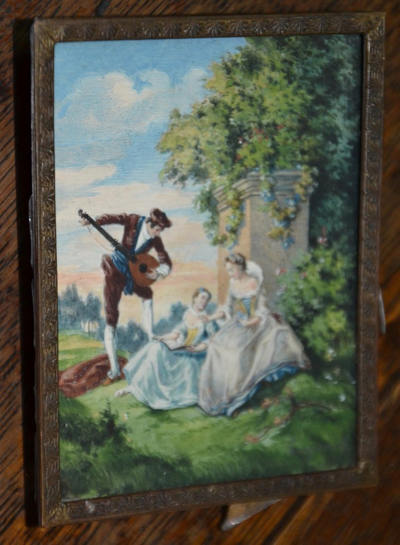 Vintage oil on Ivory miniature signed painting with