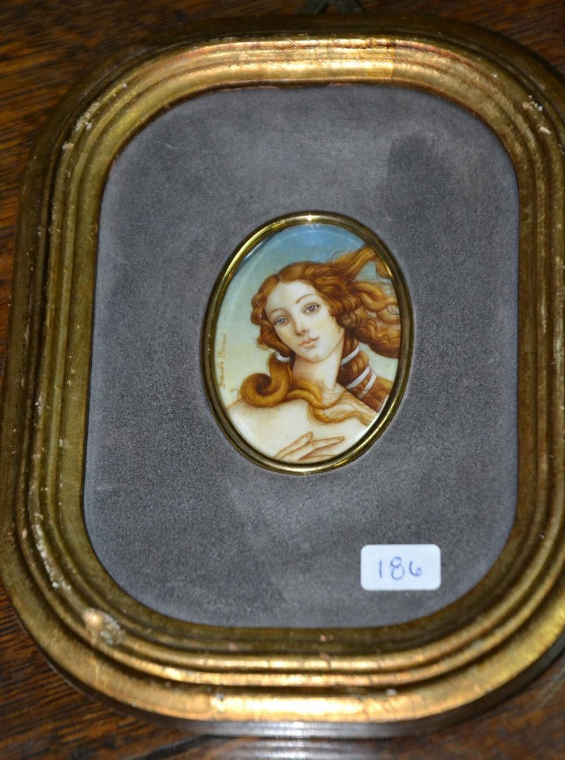 Vintage oil on ivory miniature signed painting on wood