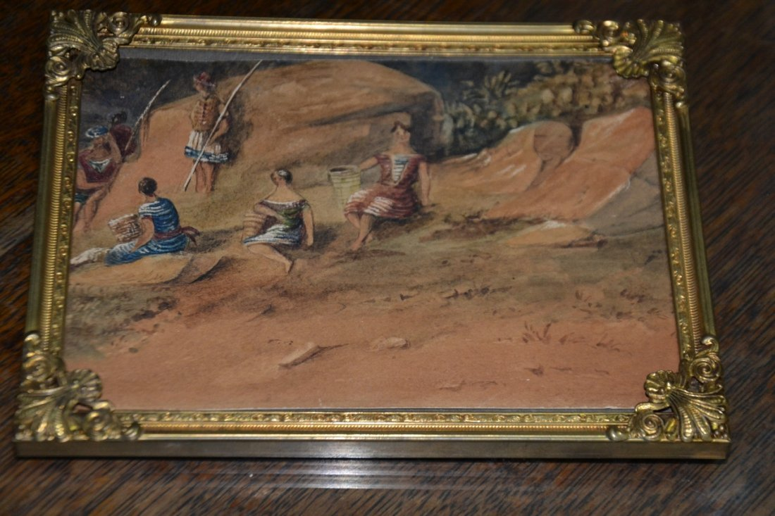 Vintage signed miniature water color painting with