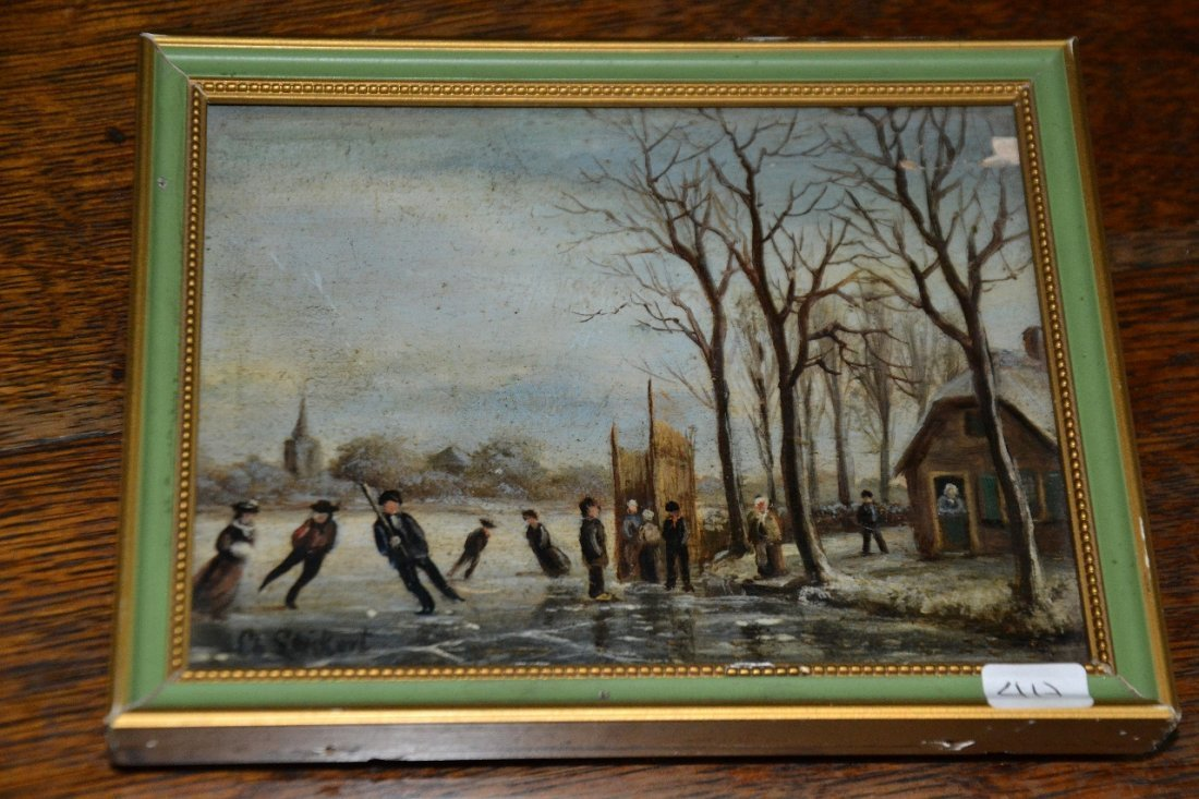 Vintage oil on wood miniature signed painting with