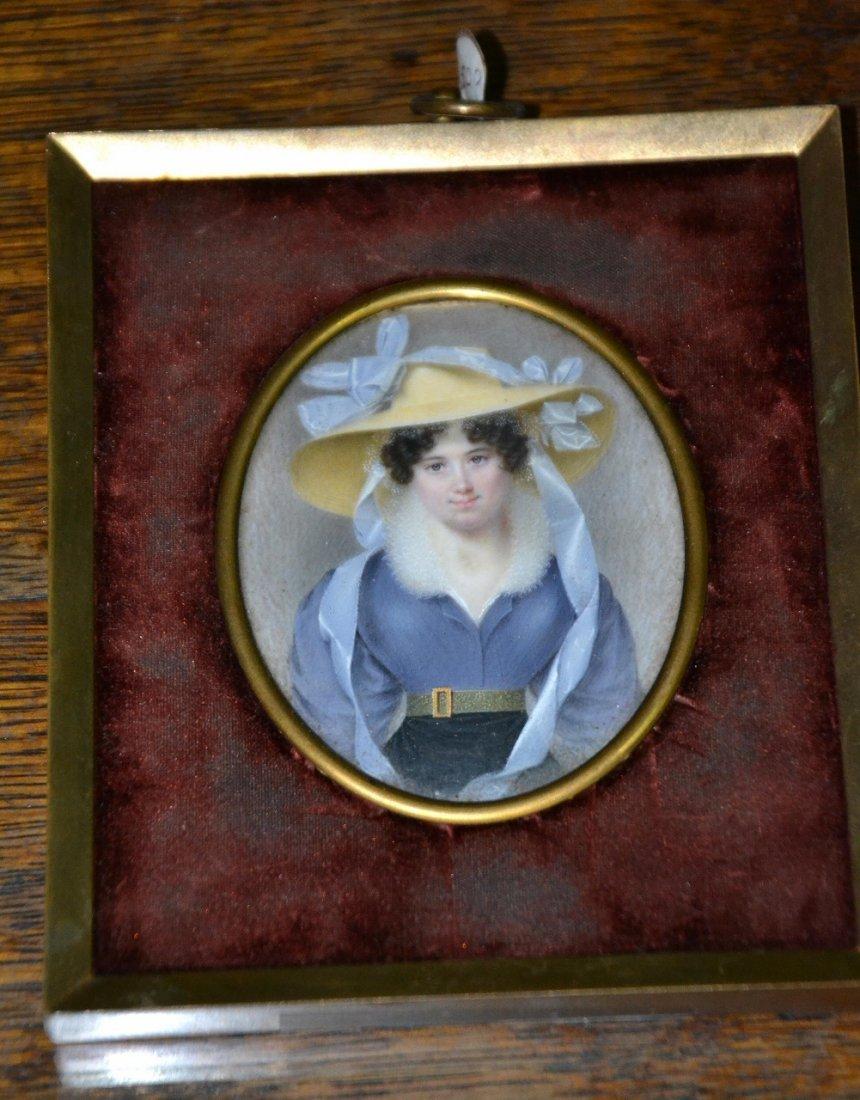 Vintage miniature oil on ivory painting on bronze frame