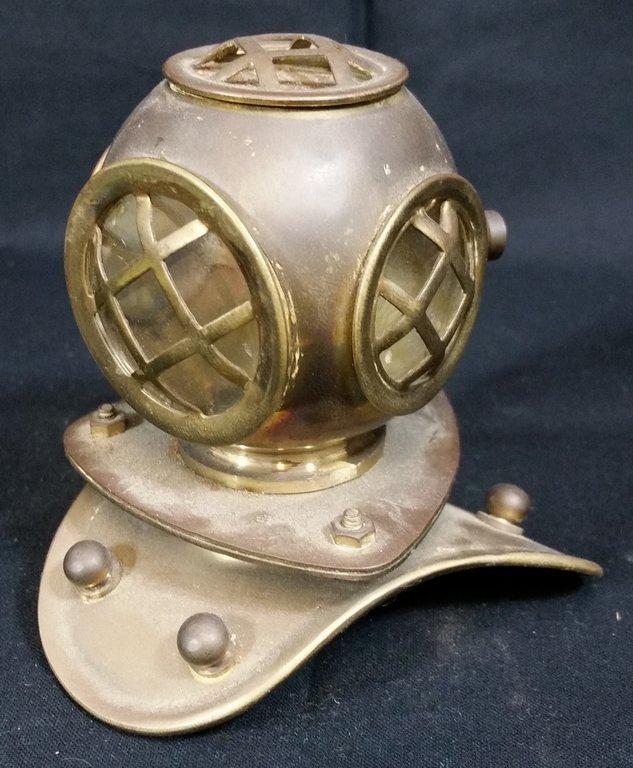 vintage miniature brass & copper divers helmet