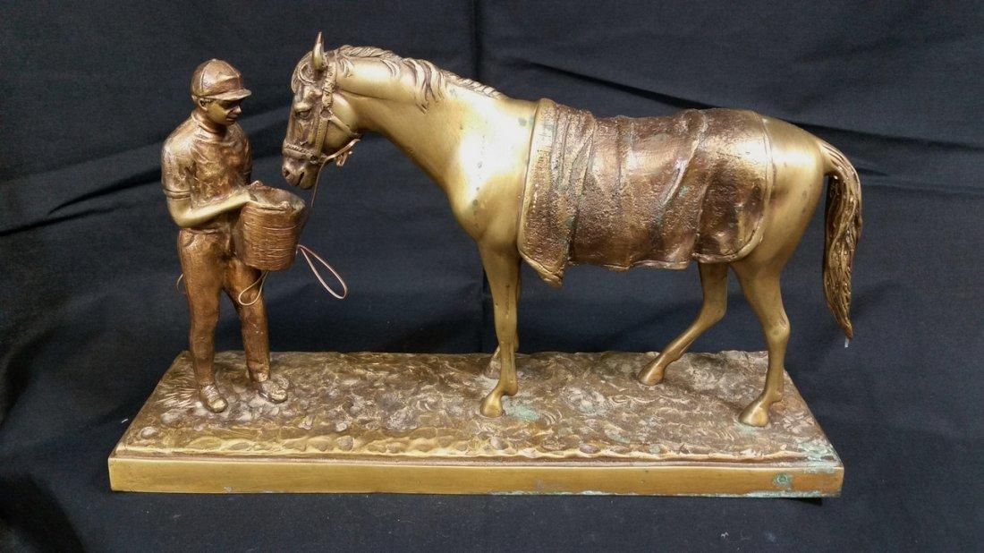 vintage jackey and horse bronze figure