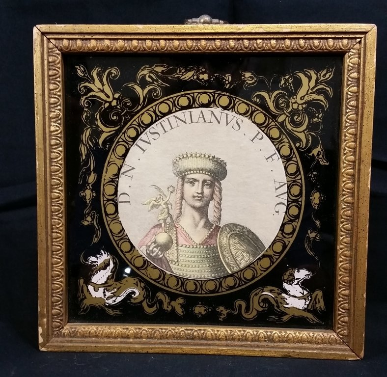 vintage photo graveur reverse painting on glass with