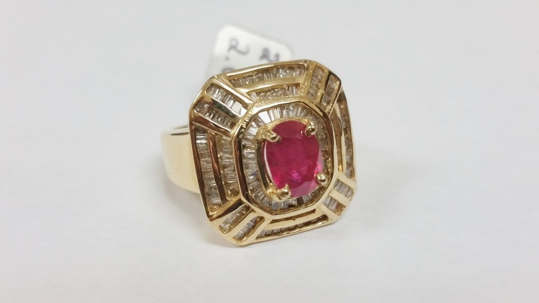 HUGE 14K YG RUBY DIAMOND RING 9.70 GRAMS & OVER 2 CTS