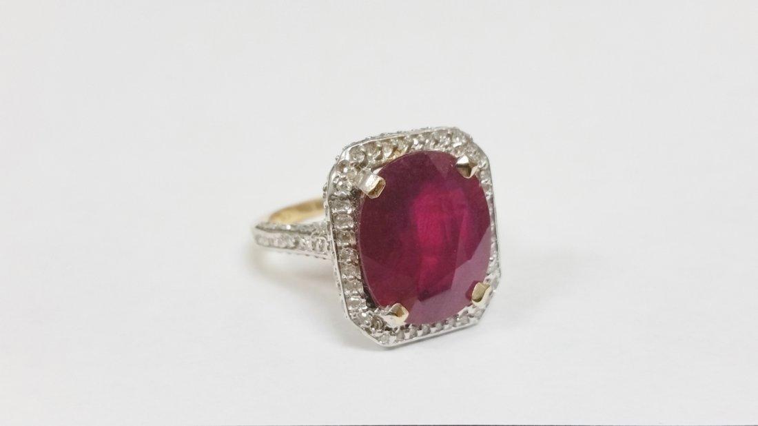 HUGE 14K YG RUBY DIAMOND RING 8.70 GRAMS & OVER 1.50