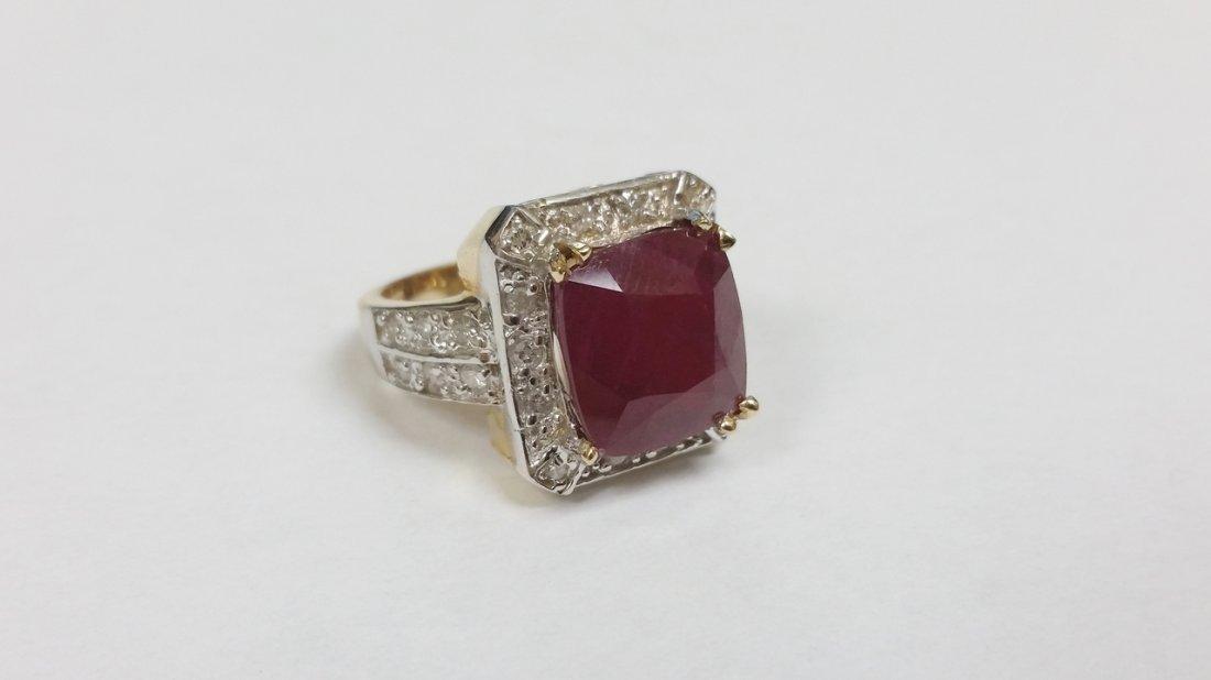 HUGE 14K YG RUBY DIAMOND RING 8.90 GRAMS & OVER 1.50