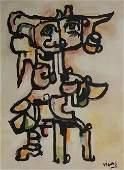 Oswaldo Vigas Venzuelan Mixed Media on Canvas