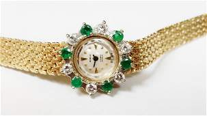 GENEVE 14K YG DIAMOND  EMERALD WATCH