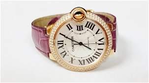 Cartier Ballon Bleu Automatic Pink Gold Diamond Watch