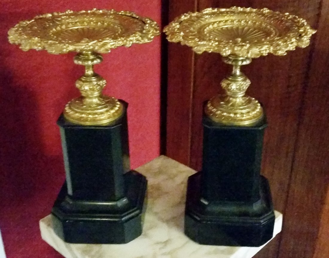 ANTIQUE PAIR OF BRONZE & MARBLE COMPOTES