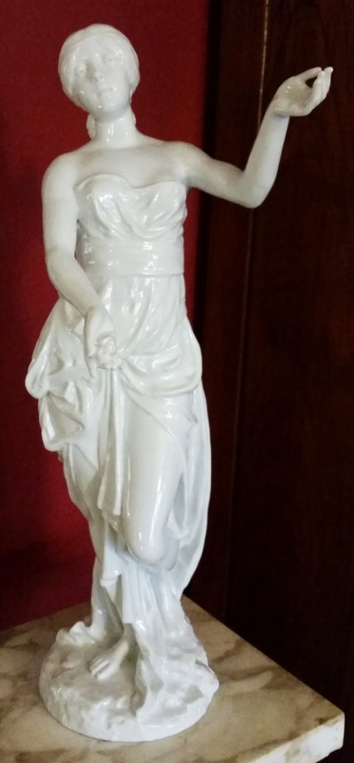 WHITE PORCELAIN SIGNED WOMAN STATUE