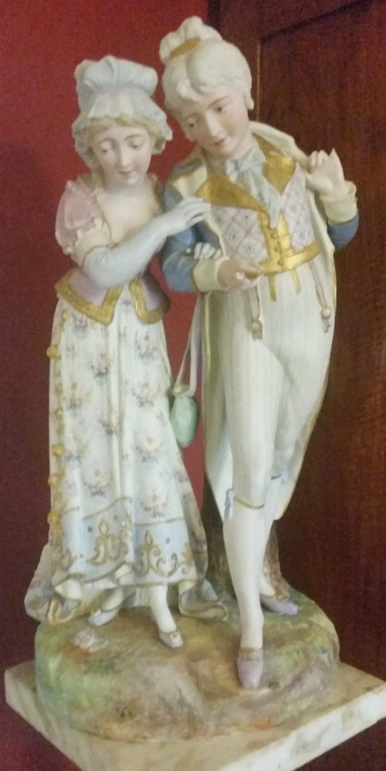 ANTIQUE FRENCH DIRECTORIO HAND PAINTED PORCELAIN COUPLE