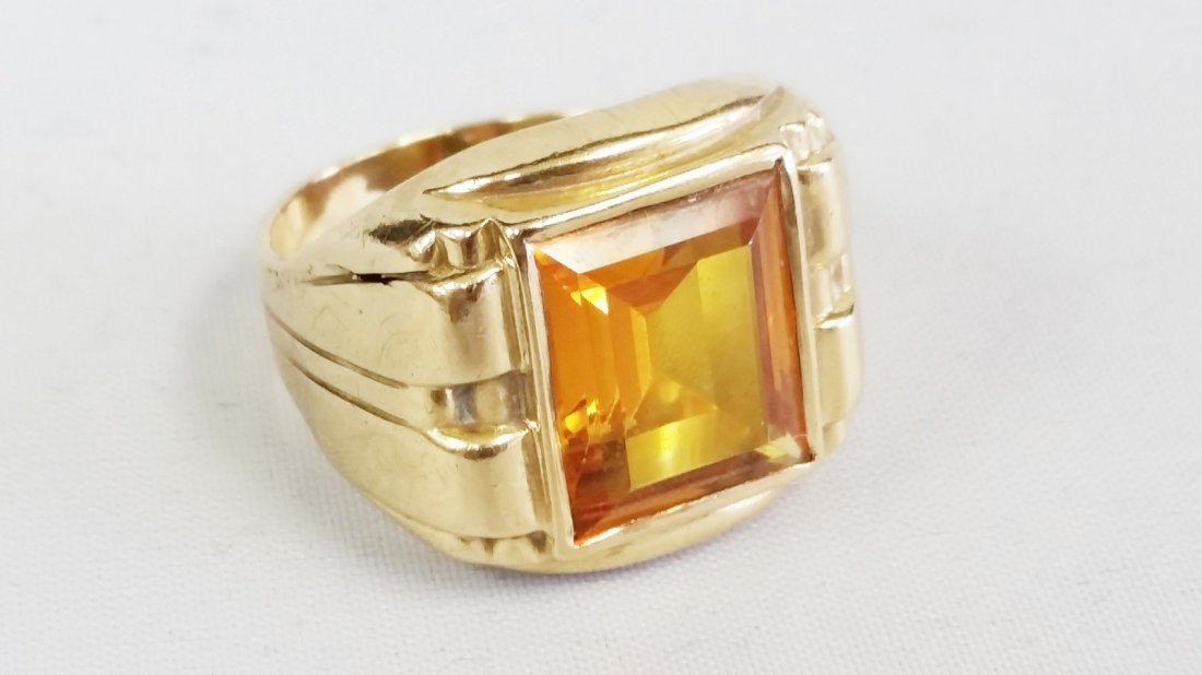 yellow topaz mens gold ring