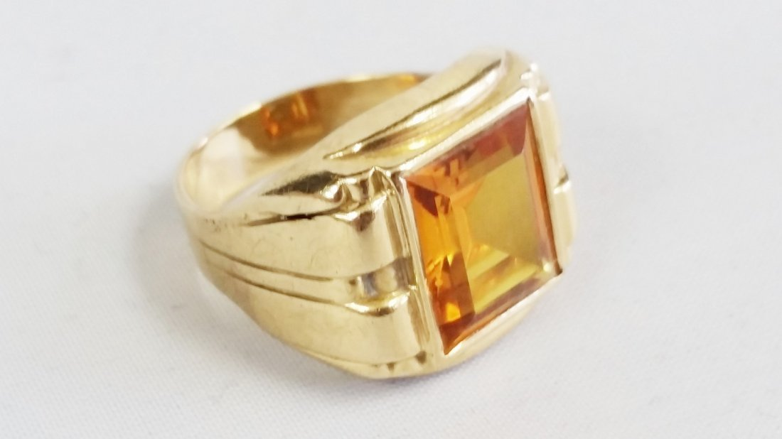 yellow topaz mens gold ring - 2