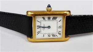 vintage cartier 18k gold electroplated watch