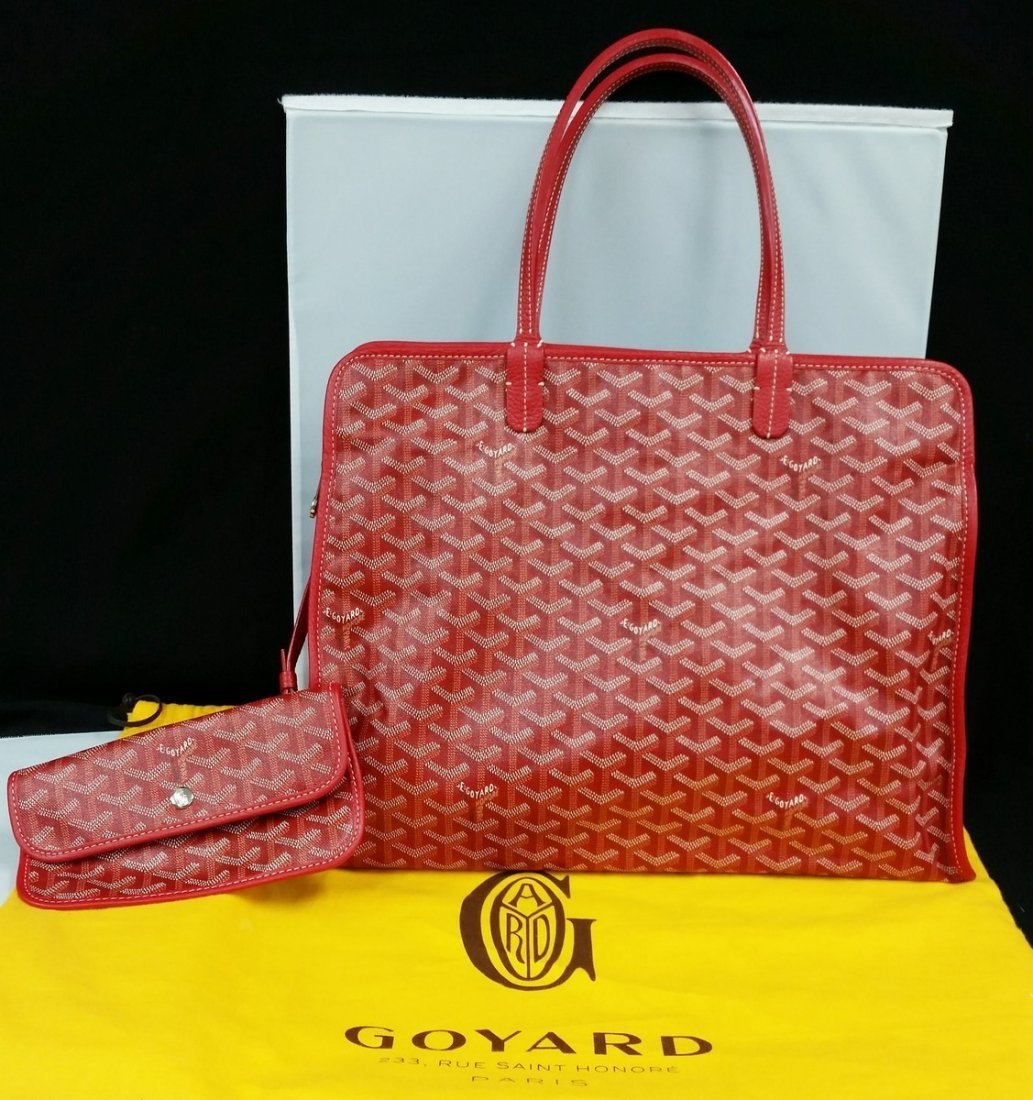 Authentic Goyard Hardy Pm Red Sac Tote Bag w/Pouch