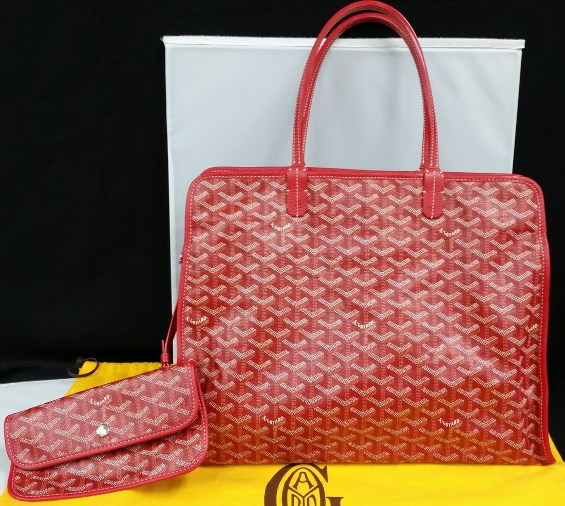 Authentic Goyard Hardy Pm Red Sac Tote Bag w/Pouch - 2