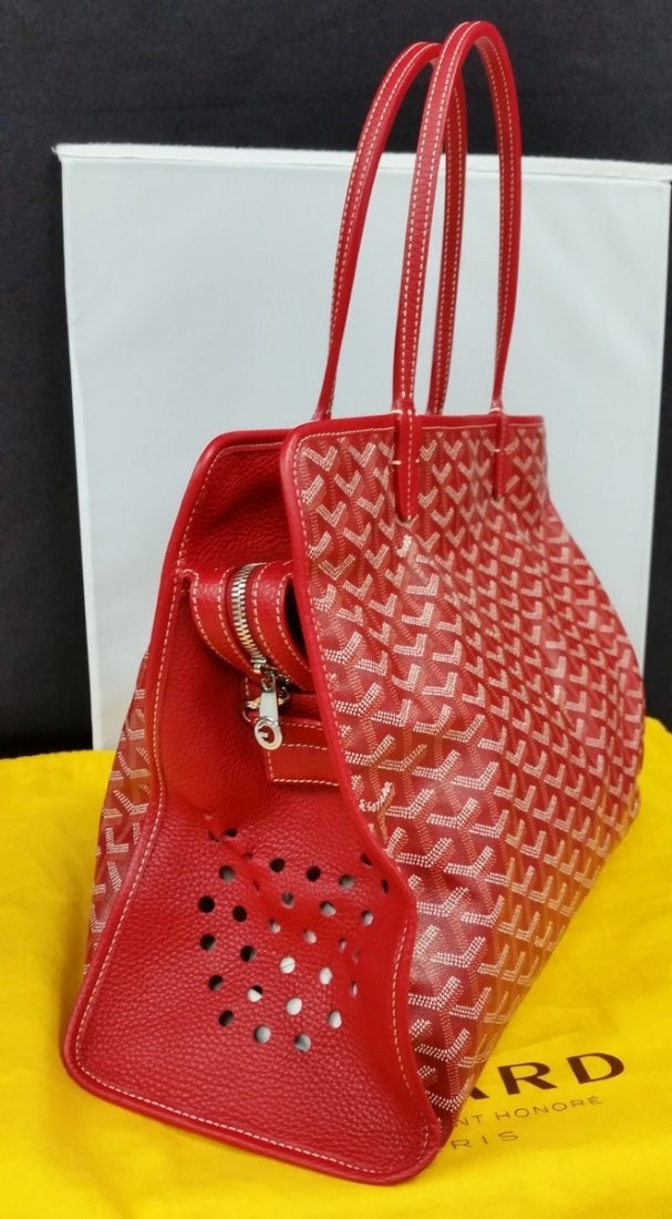 Authentic Goyard Hardy Pm Red Sac Tote Bag w/Pouch - 4