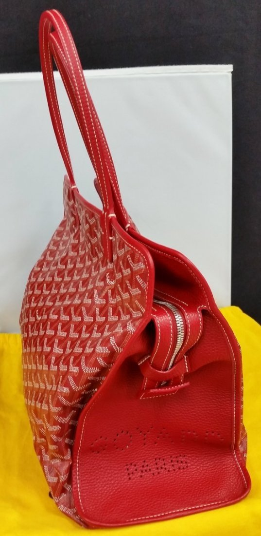 Authentic Goyard Hardy Pm Red Sac Tote Bag w/Pouch - 5