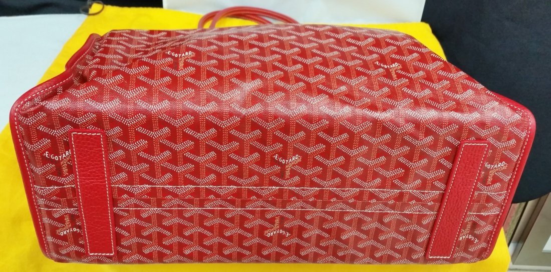 Authentic Goyard Hardy Pm Red Sac Tote Bag w/Pouch - 6